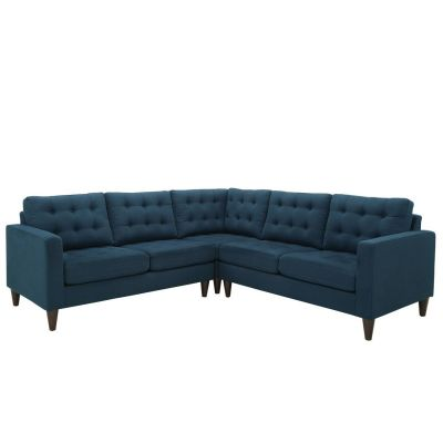 Prince 3 Piece Upholstered Fabric Sectional Sofa Set