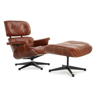 Classic Lounge Chair & Ottoman - Antique Brown