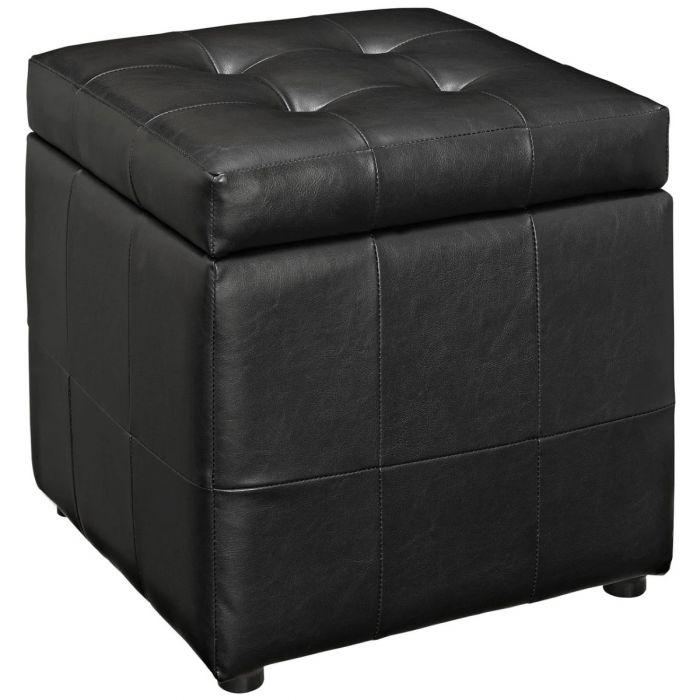 Volt Storage Upholstered Vinyl Ottoman - An Aesthetic Storage Unit